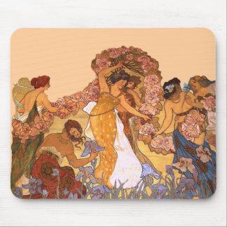 アイリスおよびバラを持つアールヌーボーの美しい女性 マウスパッド