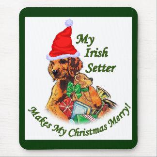アイリッシュセッターのクリスマスのギフト マウスパッド