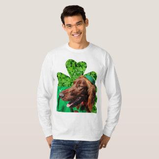 アイリッシュセッターのセントパトリックの男性Lgの袖のTシャツ Tシャツ