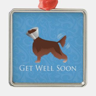 アイリッシュセッターは円錐形の健康なシルエット犬をすぐに得ます メタルオーナメント