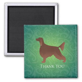 アイリッシュセッターは緑のシルエット感謝していしています マグネット
