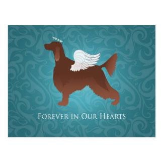 アイリッシュセッターペット記念の天使犬のデザイン ポストカード