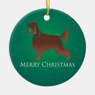 アイリッシュセッター犬のメリークリスマスのデザイン セラミックオーナメント