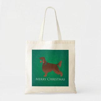 アイリッシュセッター犬のメリークリスマスのデザイン トートバッグ