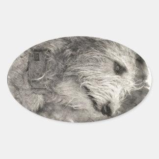 アイリッシュ・ウルフハウンドの完全な姿勢 楕円形シール
