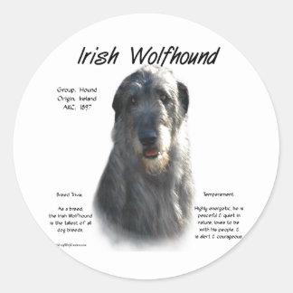 アイリッシュ・ウルフハウンドの(灰色の)歴史のデザイン ラウンドシール