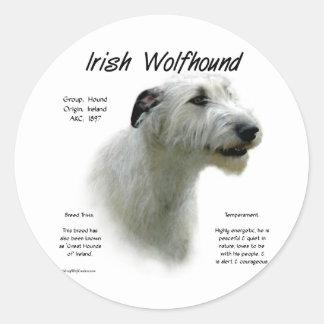 アイリッシュ・ウルフハウンドの(白い)歴史のデザイン ラウンドシール