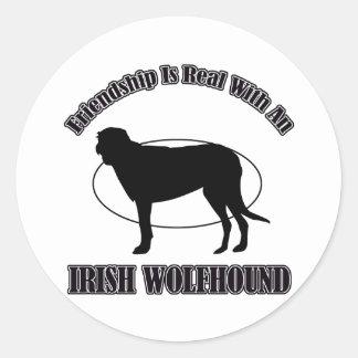 アイリッシュ・ウルフハウンド犬のデザイン ラウンドシール