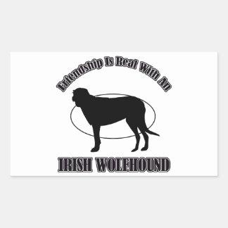 アイリッシュ・ウルフハウンド犬のデザイン 長方形シール