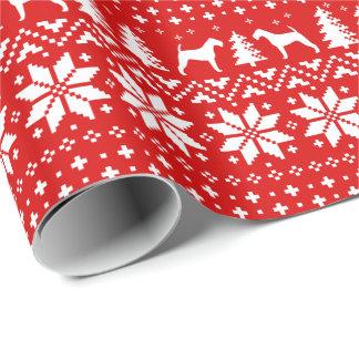 アイリッシュ・テリアのクリスマスのセーターパターン赤 ラッピングペーパー