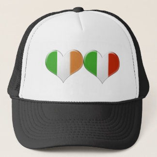 アイルランドおよびイタリアンなハートの旗 キャップ