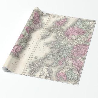 アイルランドおよびスコットランド(1862年)のヴィンテージの地図 ラッピングペーパー