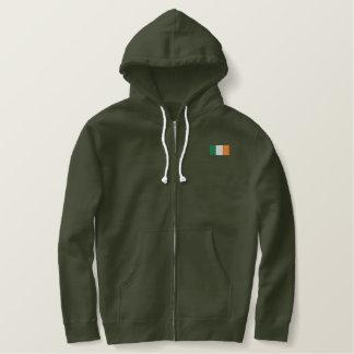 アイルランドのこのフード付きスウェットシャツ-アイルランドの旗 刺繍入りパーカ