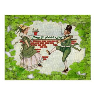 アイルランドのカップルを踊るヴィンテージ ポストカード