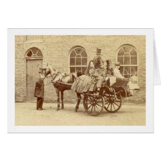 アイルランドのカートおよび馬1800's カード