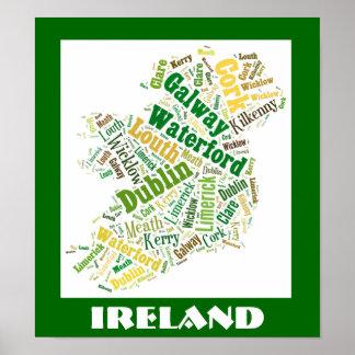 アイルランドのシルエットの単語の芸術ポスター ポスター