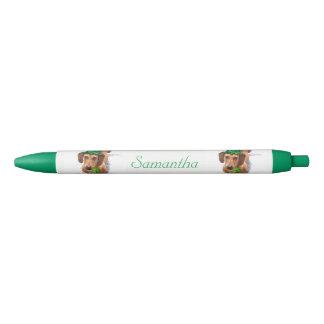 アイルランドのダックスフント犬の名前入りなペン 黒ボールペン