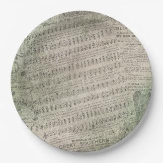 アイルランドのヴィンテージの楽譜、緑の身に着けていること ペーパープレート