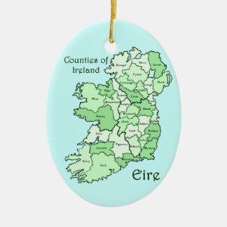 アイルランドの地図の郡 セラミックオーナメント