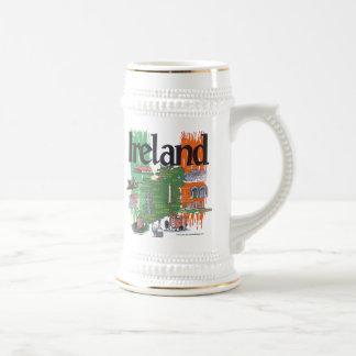 アイルランドの地図 ビールジョッキ