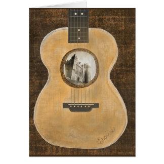 アイルランドの城のアコースティックギターの挨拶状 カード