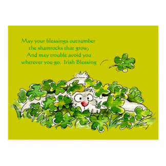 アイルランドの天恵のかわいい漫画St. Paddysの郵便はがき ポストカード