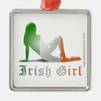 アイルランドの女の子のシルエットの旗 メタルオーナメント