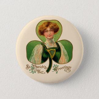 アイルランドの少女のセントパトリックの日ボタン 5.7CM 丸型バッジ