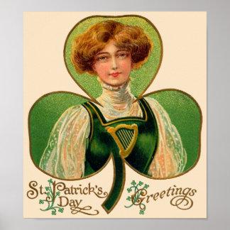 アイルランドの少女のセントパトリックの日ポスター ポスター