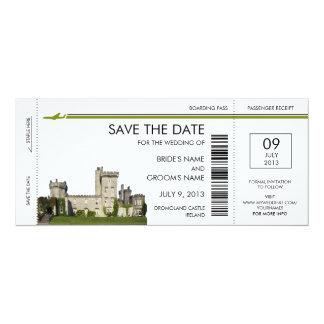 アイルランドの搭乗券の保存日付の招待状 カード