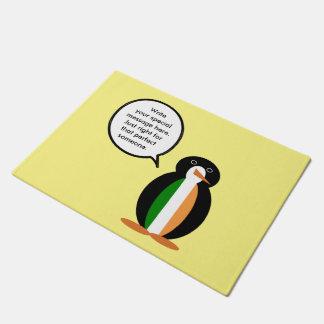 アイルランドの旗の話すペンギン ドアマット