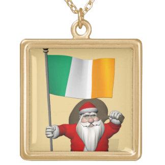 アイルランドの旗を持つすてきな聖者ニコラス ゴールドプレートネックレス