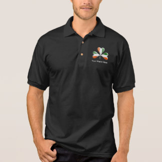 アイルランドの旗三色のテーマのシャムロック ポロシャツ