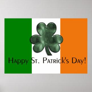 アイルランドの旗-幸せなセントパトリックの日のプリント ポスター