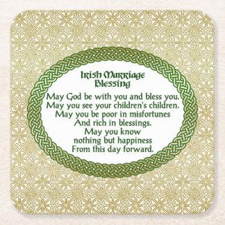 アイルランドの結婚の天恵、金ゴールド及び緑の結婚式 スクエアペーパーコースター