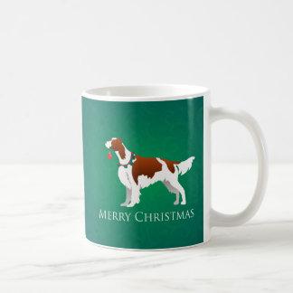 アイルランドの赤と白セッターのメリークリスマスのデザイン コーヒーマグカップ