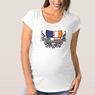 アイルランドアメリカの盾の旗 マタニティTシャツ