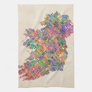 アイルランドエール都市文字地図 キッチンタオル