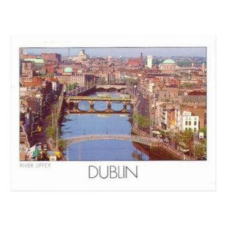 アイルランドダブリンの川Liffey (St.K.) ポストカード