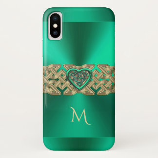 アイルランド人のケリーの緑のケルト族のハートの結び目のモノグラム iPhone X ケース