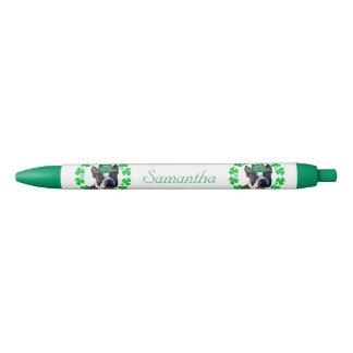 アイルランド人のボストンテリア犬の名前入りなペン 黒ボールペン