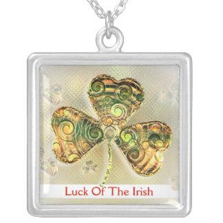 アイルランド人の運-かわいいシャムロック-ネックレス シルバープレートネックレス