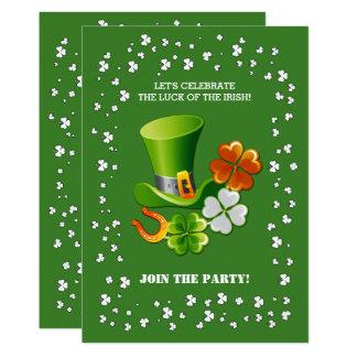 アイルランド人の運。 セントパトリックの日の招待状 カード