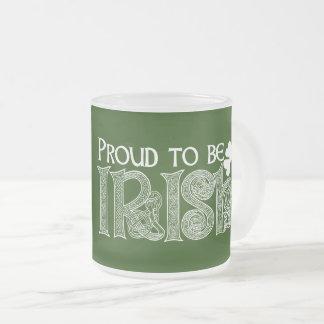 アイルランド語があること誇りを持ったSt patricks dayのケルト結び目模様 フロストグラスマグカップ