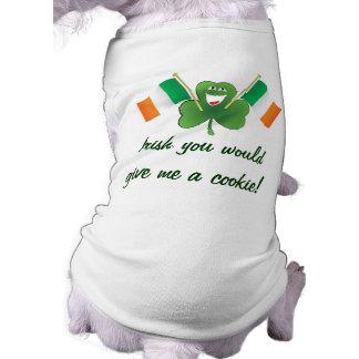 アイルランド語私にクッキーを与えます! かわいい犬のTシャツ ペット服