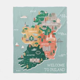 アイルランド|陸標及び都市の旅行地図 フリースブランケット