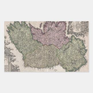アイルランド(1716年)のヴィンテージの地図 長方形シール