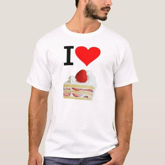 アイ ハート 苺のショートケーキ ( I  Love 苺のショートケーキ  ) Tシャツ