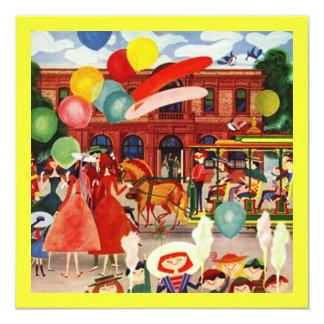 アウトドアのピクニック招待状のレトロの陽気なパーティー 13.3 スクエアインビテーションカード