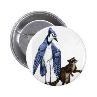 アオカケスおよびアライグマはボタンのラテを…楽しみます 5.7CM 丸型バッジ